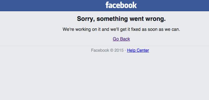 Něco si přejte, spadl @facebook.   #facebookdown http://t.co/mXjeeWECBz