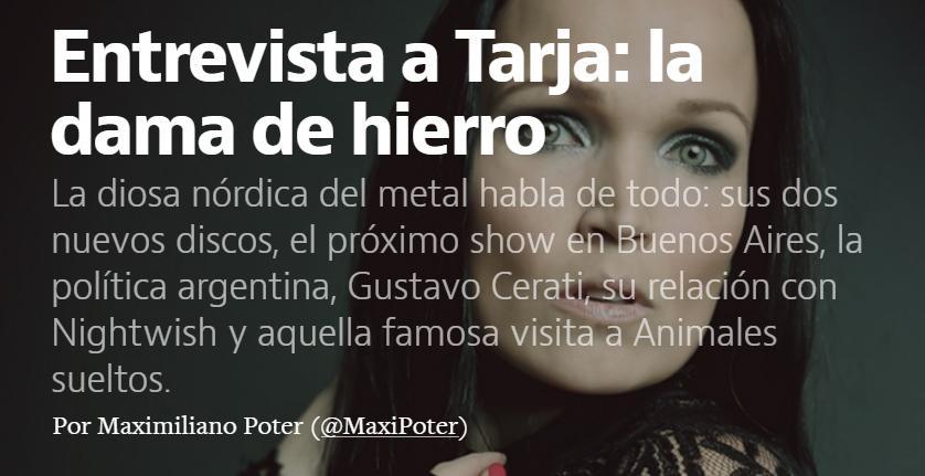 Hablamos con @tarjaofficial de todo: discos, política, Nightwish y @fantinofantino: http://t.co/y5a1ZnsNHK http://t.co/LnNTEJsmMb
