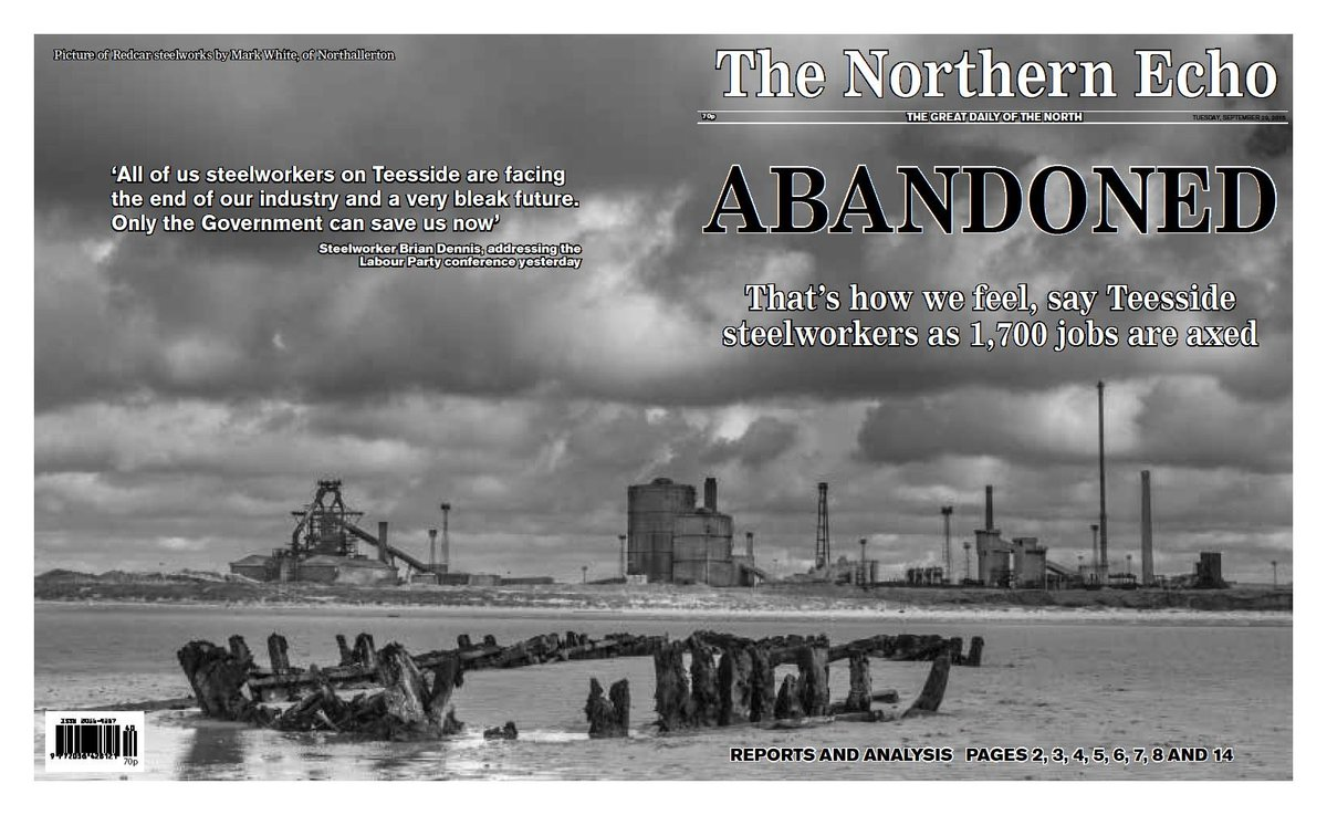 Tuesday's Northern Echo on the loss of 1,700 #Teesside steel jobs. Picture by Mark White @digicreatuk http://t.co/jjwbLI9rfD