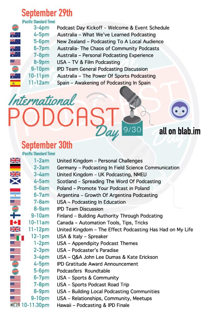 Oh my @intlpodcastday starts tomorrow at 3pm PST! Let's pajama up. It's going to be a long night! 😵☕️ http://t.co/ulmO6HlrGb