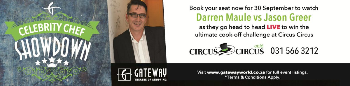 Retweet to win 2 tickets to our #celebchefshowdown at @circusgateway with @darrenmaule & @JasonMGreer Ends 12pm today http://t.co/OiHNVzcowE