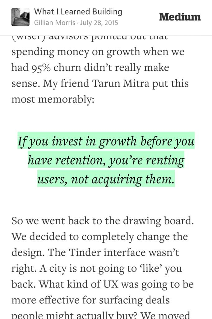 """#STRATEGY: """"If you invest in #growth before #retention, you're renting users, not acquiring.""""-@mtarun"""
