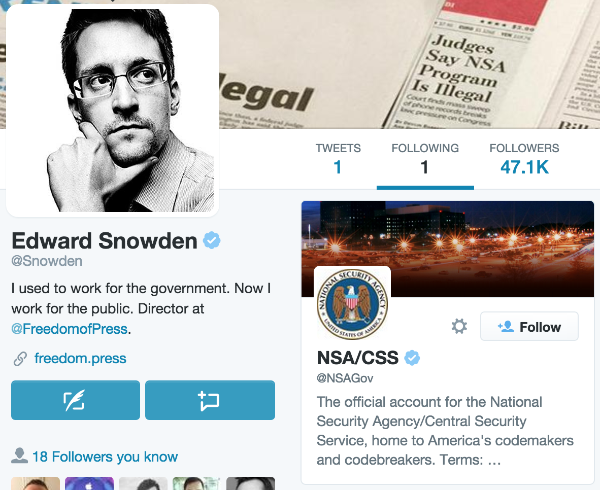 Love the fact that @Snowden is only following one twitter a/c. It's @NSAGov . http://t.co/88Hl1AhjvC