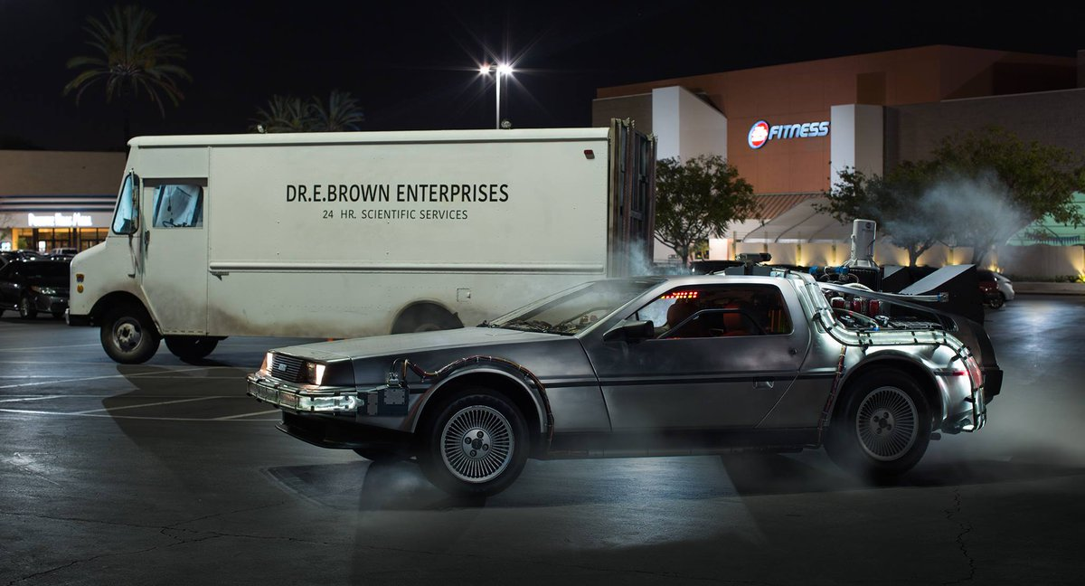 The Doc is back! And he's unloaded his DeLorean Time Machine!  The future really is happening... now #docstruck http://t.co/GA3V0TkkBE