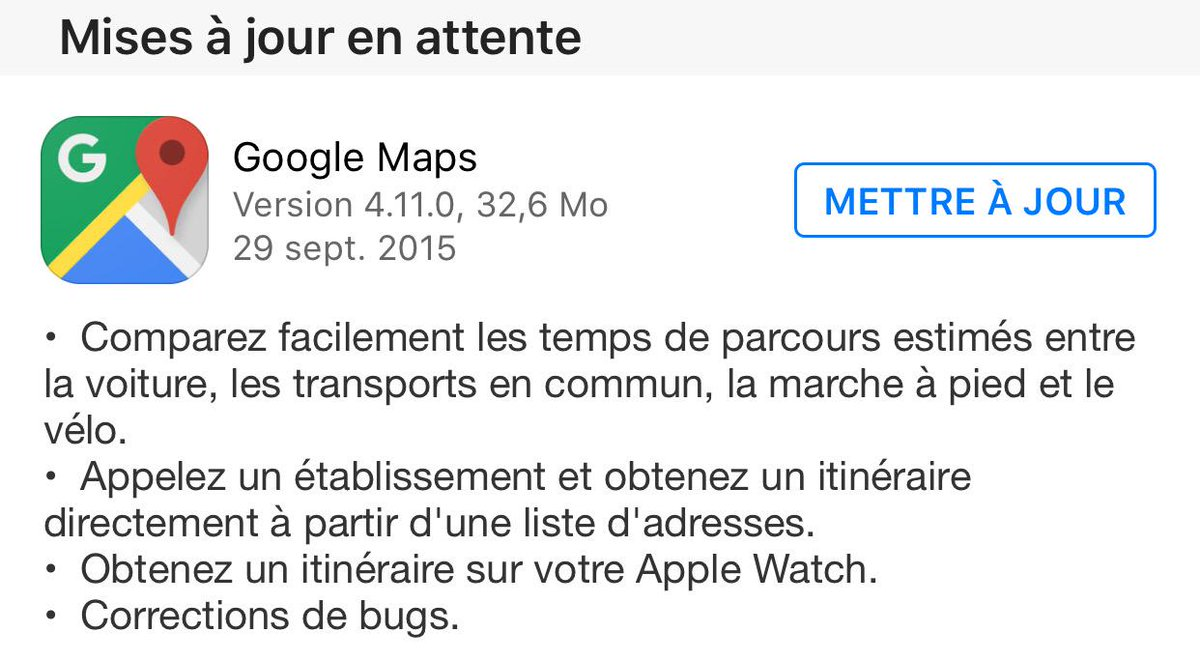 Google Maps se met à jour et arrive sur l'Apple Watch cc @MacGeneration @Mac4ever @MacPlus http://t.co/pjFeAkU4pX