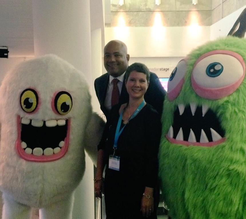 Photo op! @coteau and @Christa_D_ pose with the @SingingMonsters at #GameONVentures Networking Reception! #gamedev http://t.co/GVyTTNjZW8