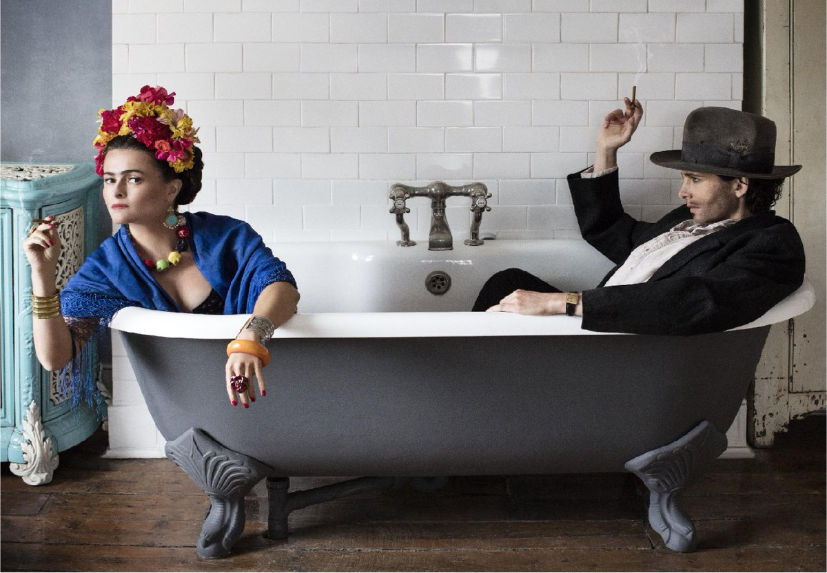 In the bath with #helenabonhamcarter & dressing up as Frida & Diego, a life changing experience! Join us #wahacadotd http://t.co/h66TlKhd7x