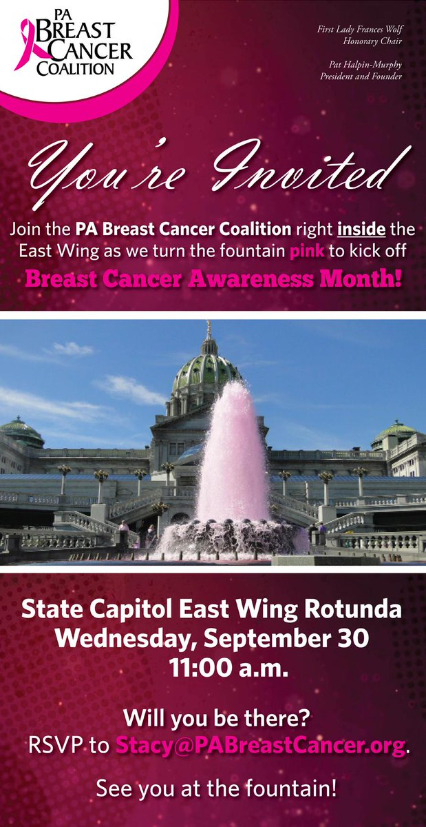 Today's the day! Kick off #BreastCancer Awareness Month with us at 11 & turn the Capitol fountain PINK! http://t.co/k6T5CMvpvh
