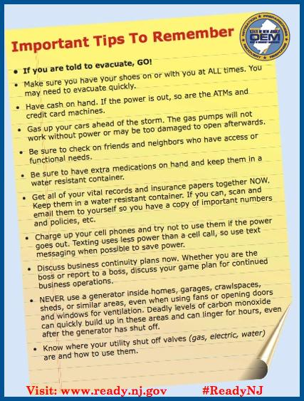 Important tips to remember when getting prepared! #ReadyNJ #Joaquin #JoaquinNJ Visit http://t.co/i7aAxybx1c http://t.co/nQGV1WeG9g