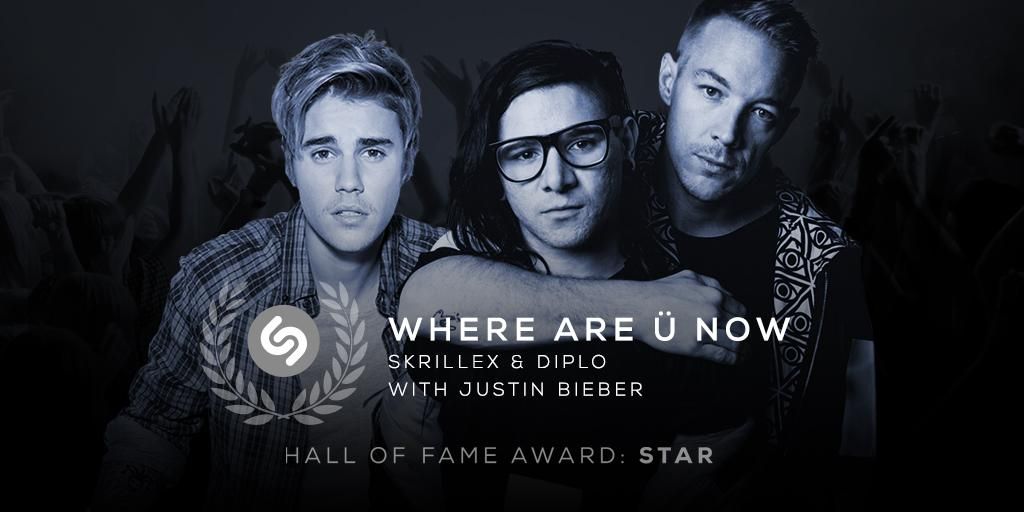 Where R Ü Now? In the #Shazam Hall Of Fame! Congrats to @skrillex @diplo and @justinbieber: http://t.co/WoFOFiOTBe http://t.co/75Lz9mQUCd