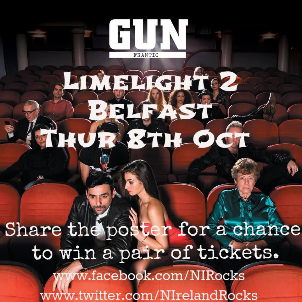 Retweet for a chance to win a pair of tickets to see @gunofficialuk in @LimelightNI on 8th Oct - comp closes on Tue. http://t.co/UALTBD1IK7