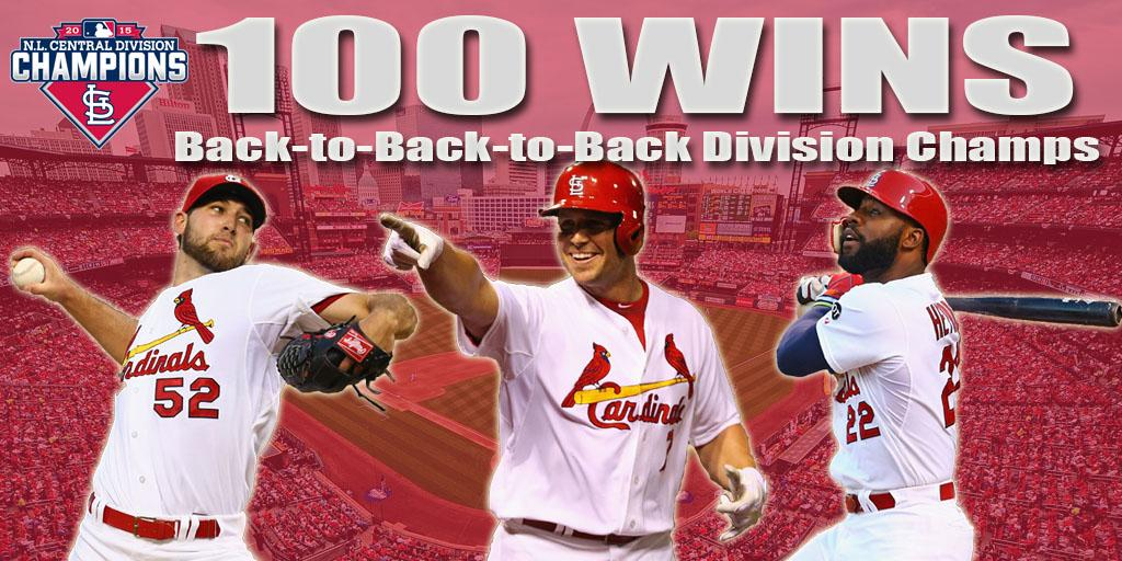 #THATSAWINNER!!! 100 wins and your #STLCards are 2015 NL CENTRAL CHAMPS! #12inSTL http://t.co/ykRsr1p9kV
