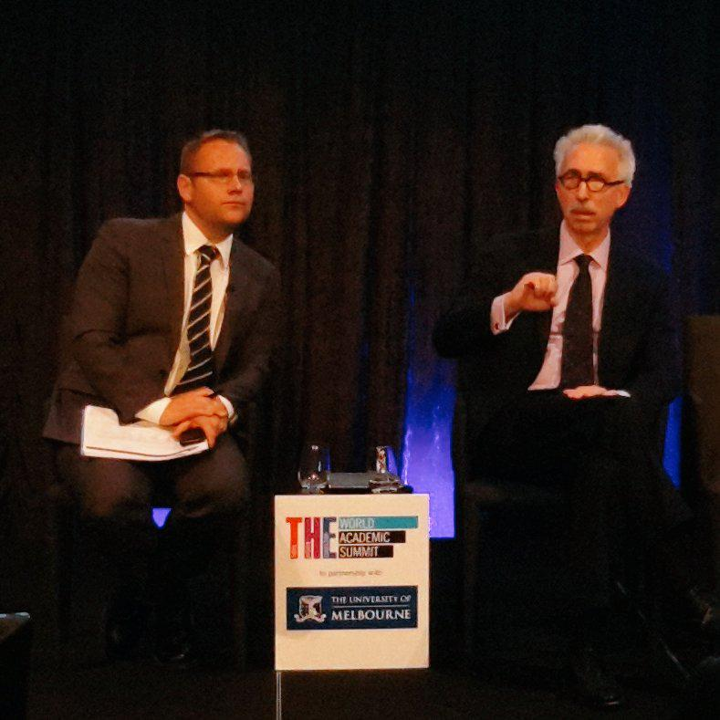 Discussing new global university model where there's less public funding but more access via industry funding #thewas http://t.co/YEShtBjt8i