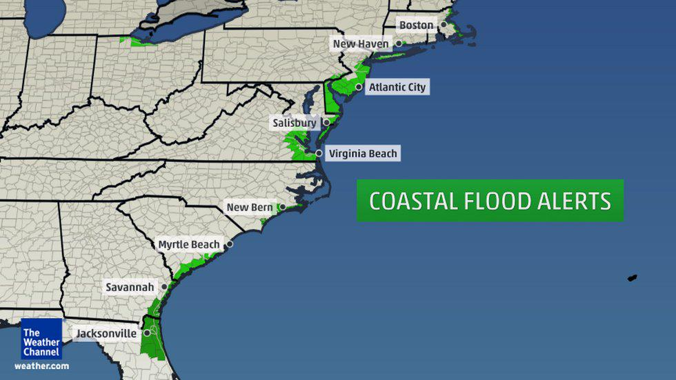 Map Coastal Flood Alerts In Effect From Eastern Massachusetts To Eastern Florida Concerns To Grow In Coming Days Due To Joaquin Atweatherchannel