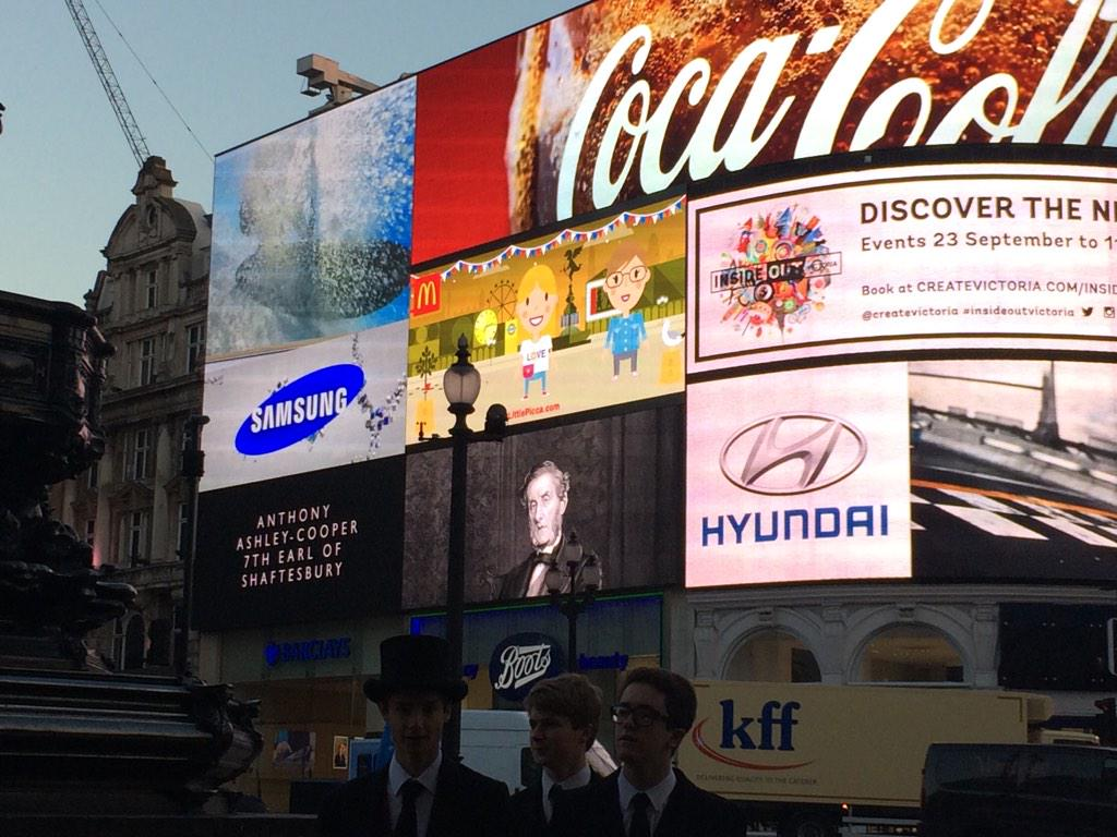 At Piccadilly Circus to celebrate #shaftesburyday - commemorating the amazing 7th Earl of Shaftesbury #socialreformer http://t.co/mT00DiglsL