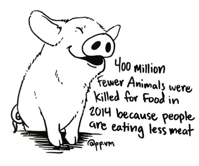 GREAT NEWS FOR ANIMALS: 400 million FEWER animals were killed for food in 2014 compared to 2007. #WorldVegetarianDay http://t.co/kCWFexLEw3