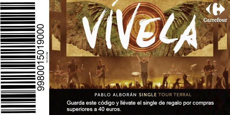 """De regalo el single de Pablo Alborán """"Vívela"""" por compras mayores a 40€ en hipermercados Carrefour del 2 al 4 de oct. http://t.co/3UNxi05Uuk"""