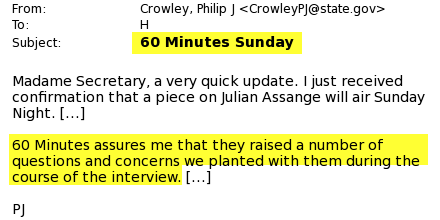New government doc states @60Minutes planted government questions to shape @Wikileaks interview. If true, sad to see. http://t.co/IJxK8tlfr8