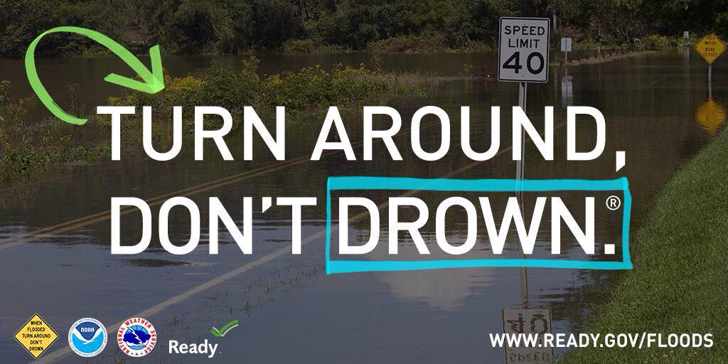 Lots of rain on the East Coast this weekend. When roads are #flooded, Turn Around Don't Drown®! https://t.co/vWuP2rwCb7