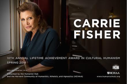 .@HarvardHumanist 2016 lifetime achievement awardee: @carrieffisher! Joining @stephenfry+. @sarahjanechando's idea! https://t.co/tOJSz5Kh3r
