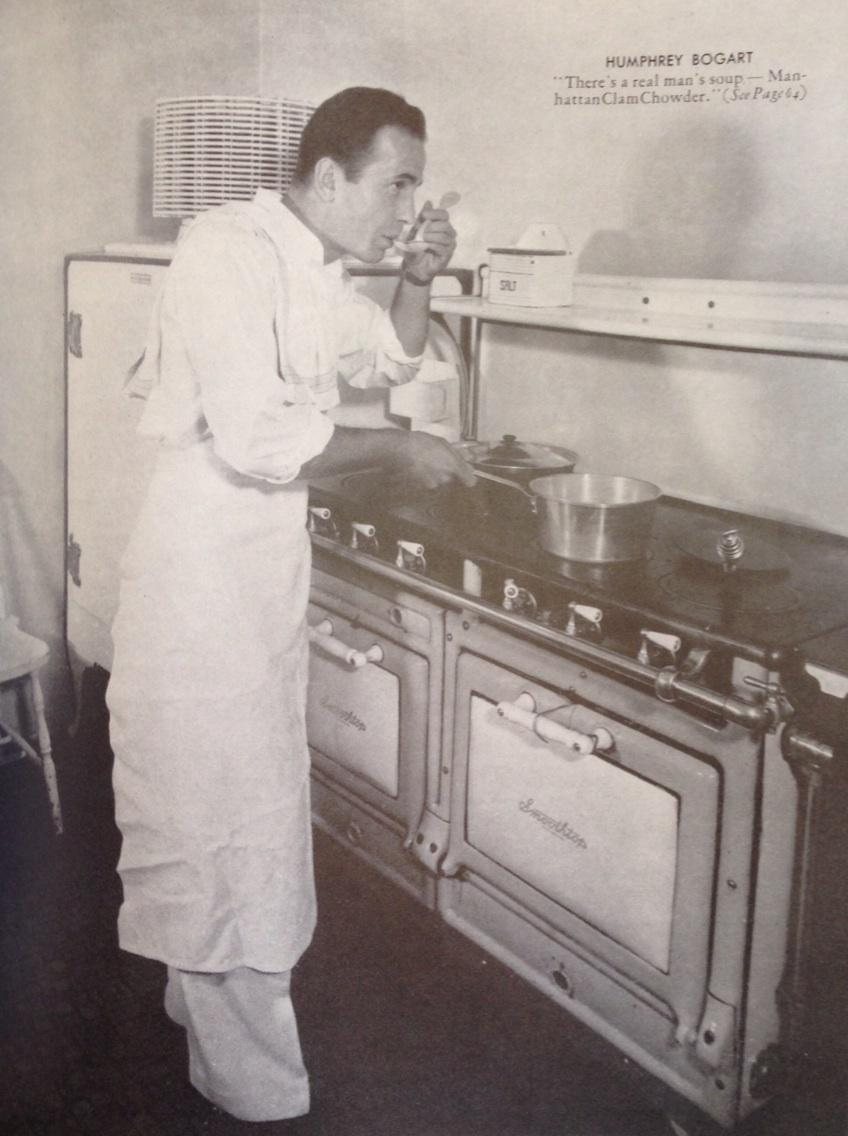 Vintage image of the day: Humphrey Bogart standing over his pot of Manhattan Clam Chowder, 1941! https://t.co/ysNI2YC8P6