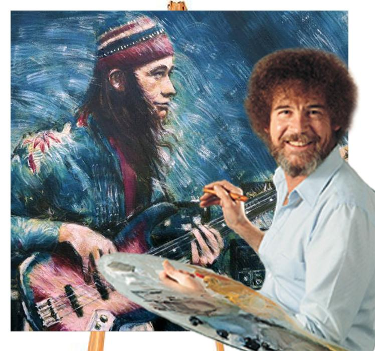 """Now let's just put a happy little bass player right here..."" #bobross #jacopastorius #bassplayermag http://t.co/DtYnSqJXWf"