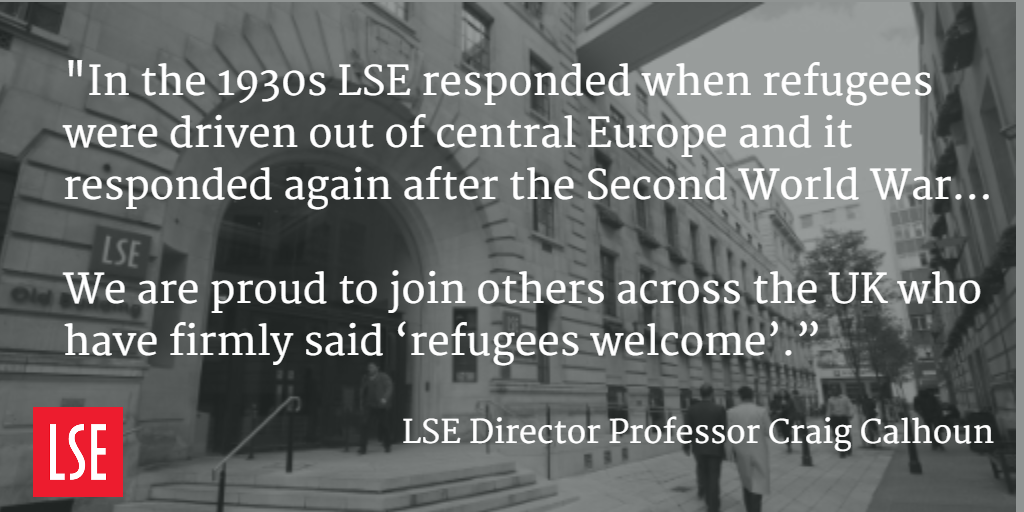 LSE Director @craigjcalhoun announces new LSE funding for refugee scholarships http://t.co/bOT9bBeZeO http://t.co/w0mN9htKLd