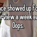 Confessions: What's the most embarrassing thing you've done during a job interview? http://t.co/0YEey4Uegs via @AOL http://t.co/Af9WS7kamF