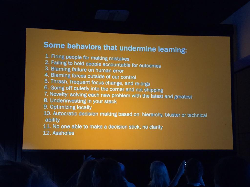 Some behaviors that undermine learning from Kellan Elliot-McCrea @kellan #cfasummit http://t.co/j4ToF660sH