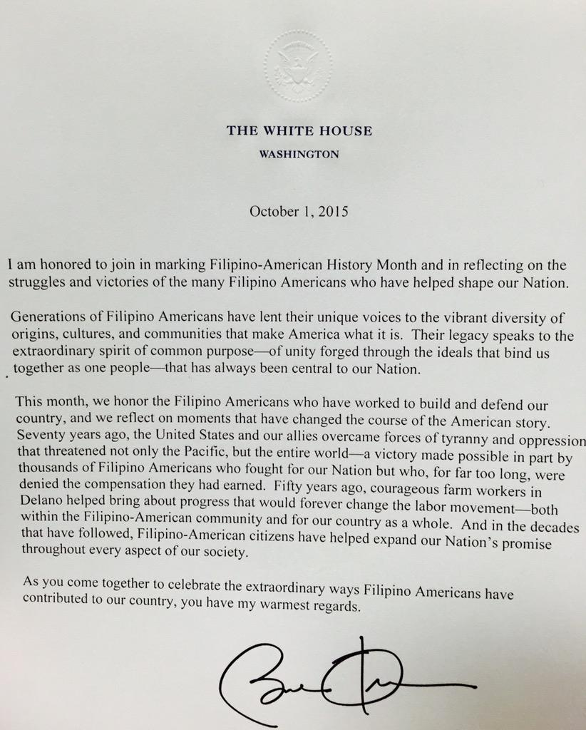 .@POTUS honors the struggles, contributions & victories of Filipino-Americans. #WhiteHouseFAHM http://t.co/DKM10wRY59