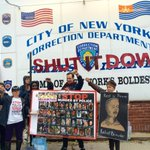 #ShutDownRikers in #Queens #NYC with fists up outside #RikersIsland! #NYC http://t.co/CDMAV37HEH