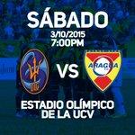 HOY: J13 @DvoLaGuaira Vs @AraguaFC | Estadio Olímpico UCV | 7:00 PM | Transmisión: @TeleAragua y @MeridianoTV http://t.co/vu4KbHuYGQ
