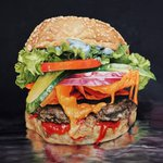 Looks good enough to eat. @MarkLiamSmiths final painting for tonights @sbnuitblancheTO @GangsterBurger #toronto! http://t.co/z7t01YTRhH
