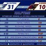 HALFTIME IN MONROE - GS 31 - ULM 10 - Driven by Ford, Official Truck of Eagle Nation http://t.co/AMb0KO4PpK