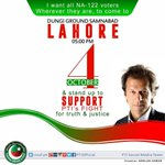 #ChaloChaloLahoreChalo IK,s call to all NA122 voters to join Jalsa on Oct 4, 2015 at Doongi Ground Samnabad Lahore http://t.co/jrlpoQiR8p