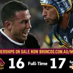 FT #NRLGF Heartbreak as the Broncos lose it in golden point - a Thurston drop goal to win it http://t.co/vRDJDzAUUS