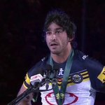 Johnathan Thurston accepts the Clive Churchill Medal Award! #NRLGF #WWOS http://t.co/WRdYmIJNkW
