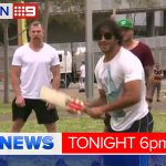 Johnathan Thurston and the @nthqldcowboys take it easy ahead of tonights #NRLGF. @KateCreedon9 @breenie9 #9NewsAt6 http://t.co/0oWg0EM8lT
