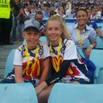 Grace and Harry Bowman, children of Paul Bear Bowman #ridemcowboys #nqc20 #NRLGF #NRLBroncosCowboys http://t.co/2JmFTt4ldU