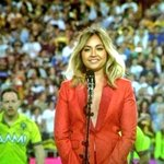 Doing Aussies proud @jessicamauboy. #nationalanthem #NRLBroncosCowboys #tvweekmag http://t.co/hRgcXMijI8