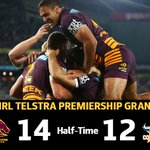 #NRLGF HT 14-12 after a frantic opening few tries the Broncos clawed back before halftime http://t.co/gmIGZFgWCp