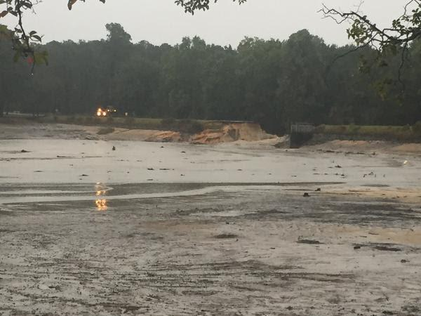 Dam collapse at semmes lake at fort jackson near, #columbia, sc. one of many such breaches. # ...