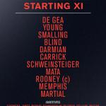 United: De Gea, Young, Smalling, Blind, Darmian, Carrick, Schweinsteiger, Mata, Rooney, Memphis, Martial #mufc http://t.co/qfDYU0k4SJ