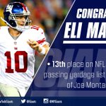 Eli Manning has just passed Joe Montana for 13th place on the all-time QB passing yards list. Congrats ELI! http://t.co/UMSRDPbO5a