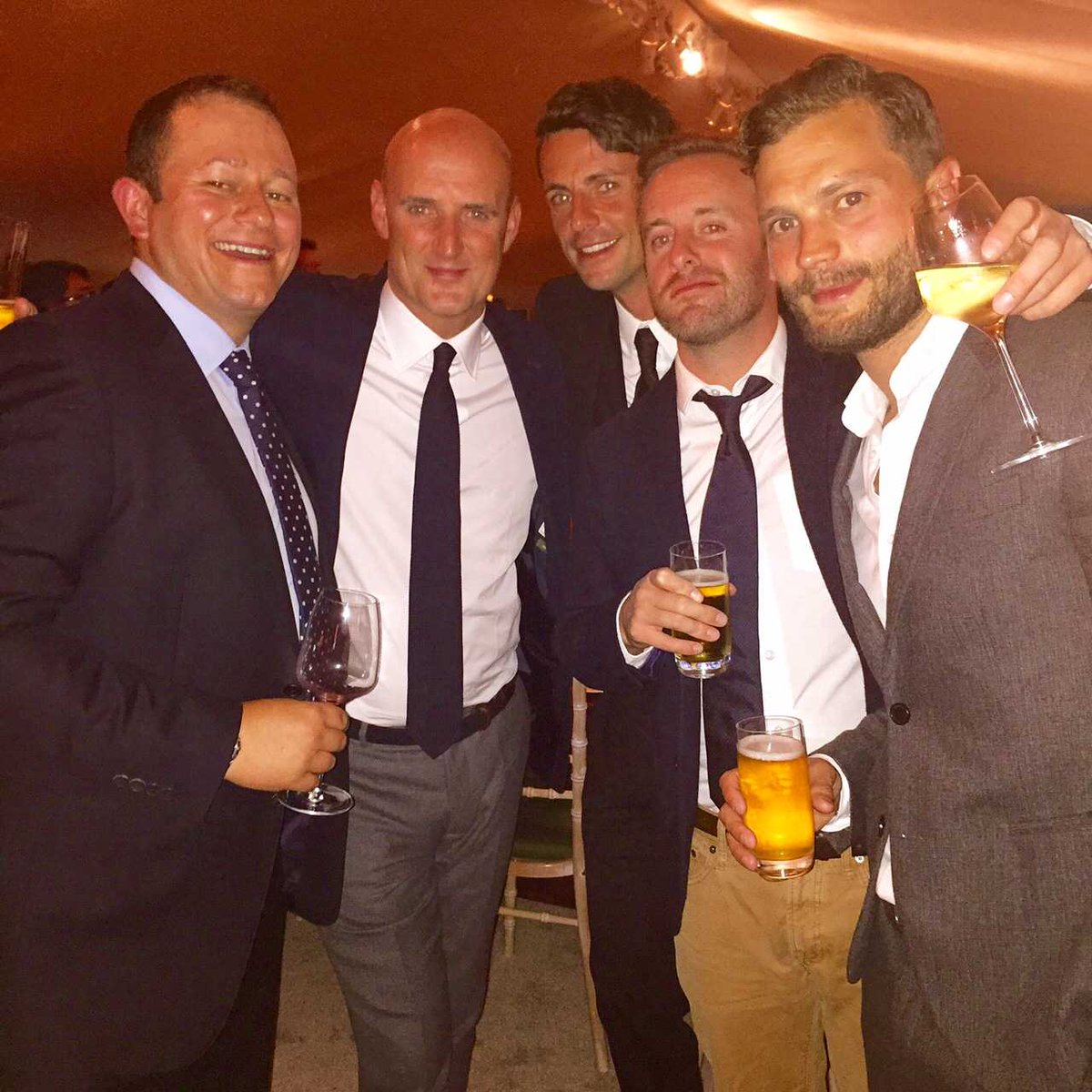 With Italian ref Pierluigi Collina, Matthew Goode, unnamed ginger, and @JamieDornan. @MCSaatchiSteveM @BrianODriscoll http://t.co/9j7PHJVlQB