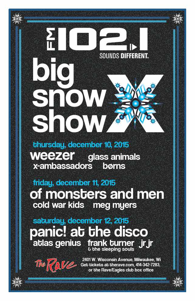 .@FM1021 #BSSX NIGHT 3: Sat Dec 12 @therave @PanicAtTheDisco @atlasgenius @frankturner @JRJRmusic #FM1021LOVE http://t.co/0seamYnBIe