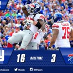 HALFTIME and the #Giants lead 16-3! WATCH first half highlights HERE: http://t.co/4WY54Zd6PA http://t.co/d3WQYyiLjr
