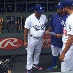 No, thats not @TommyLasorda, its todays #Dodgers manager @JimmyRollins11. With some, er, padding. http://t.co/2X1UvmTLuF