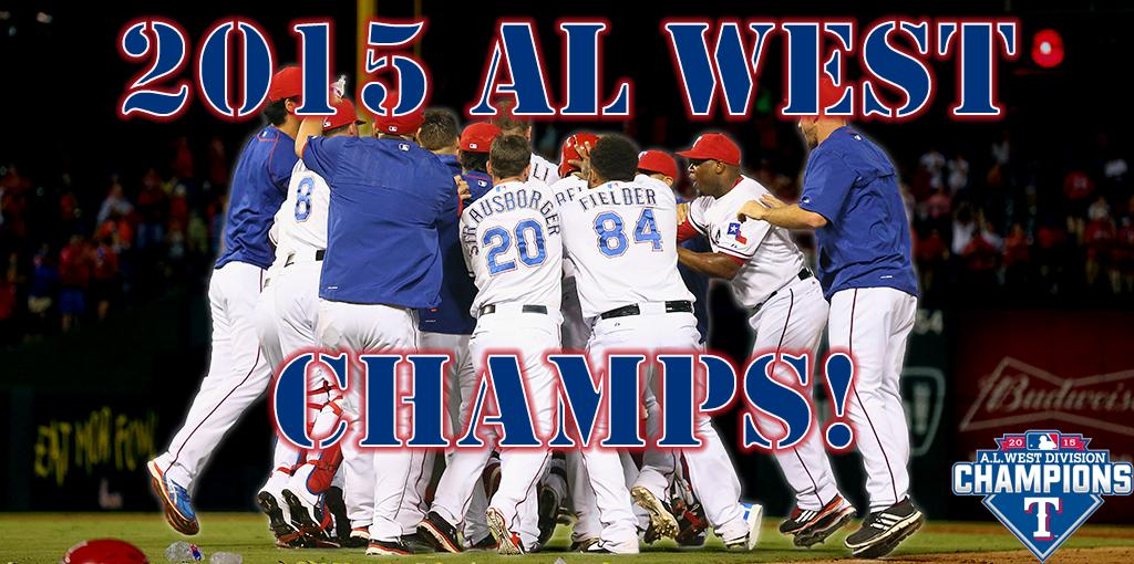 Clinched! Introducing your 2015 AL West champion Texas Rangers! #162IsntEnough http://t.co/j0QV8Po89N