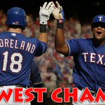 The west has been won! Rangers beat Angels 9-2 to clinch the AL West crown. With the loss, Angels are eliminated. http://t.co/23ZPUStt8w